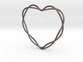 Woven Heart in Polished Bronzed Silver Steel: Extra Small