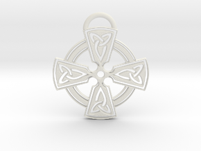 Celtic Cross Keychain in White Natural Versatile Plastic