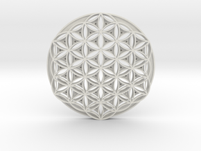 Flower Of Life coasters in White Natural Versatile Plastic