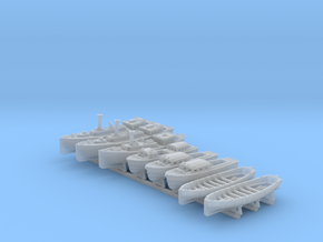 1/450 WW2 RN Boat Set 4 with Mounts in Smooth Fine Detail Plastic