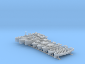 1/400 WW2 RN Boat Set 4 Without Mounts in Smooth Fine Detail Plastic
