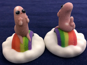 Dickbutt on a cloud of rainbows in Full Color Sandstone