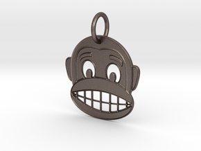 Happy Monkey Keychain in Polished Bronzed Silver Steel