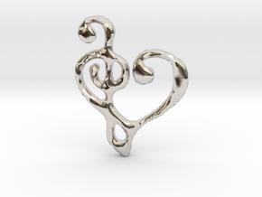 Music Heart Pendant in Rhodium Plated Brass