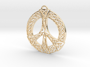 Celtic Peace Symbol Pendant in 14k Gold Plated Brass