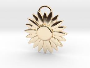 Sunflower Pendant in 14k Gold Plated Brass