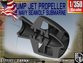 1-350 Pump Jet Seawolf Submarine Propeller in Smooth Fine Detail Plastic
