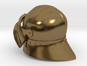 Medieval Sallet compatible with playmobil figure in Polished Bronze