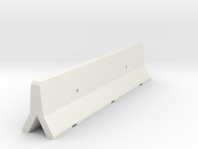OO Scale Concrete Motorway Barrier 4m long in White Natural Versatile Plastic