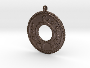 Door County Round Emboss Pendant in Polished Bronze Steel