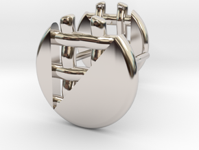 Pie Lattice Earring 2 in Rhodium Plated Brass