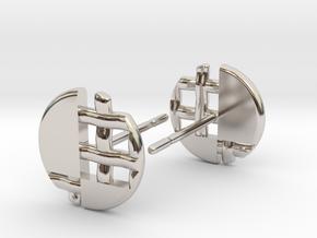 Pie Lattice Earring 5 in Rhodium Plated Brass