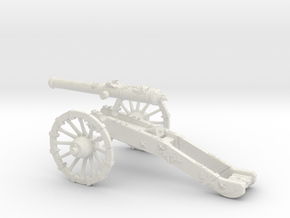 French gun 12 Pounder 7 Years War 28mm in White Strong & Flexible
