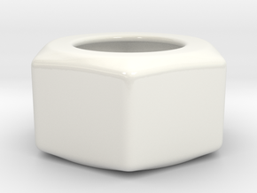 Hex Nut Sugar Bowl in Gloss White Porcelain