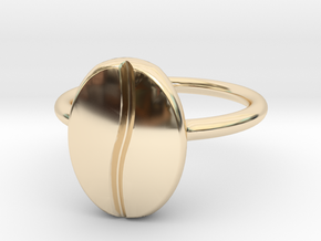 Coffee Bean Ring in 14k Gold Plated Brass