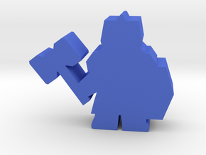 Game Piece, Dwarf with hammer in Blue Processed Versatile Plastic