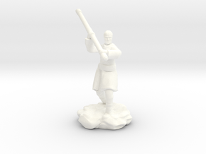 Human Monk With Staff in White Processed Versatile Plastic