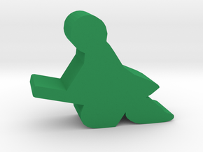 Game Piece, Student Wizard, on broom in Green Processed Versatile Plastic
