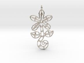 Flower in Rhodium Plated Brass