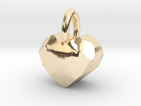 Heart Pendant With Facets in 14K Yellow Gold