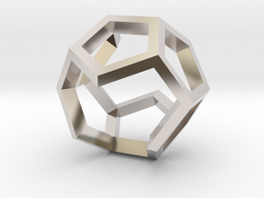 Dodecahedron Sculpture Ring B Gmtrx  in Rhodium Plated Brass