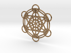 Metatron Grid Pendant in Natural Brass: Small
