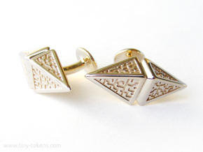 Zendikar Hedron Cufflinks in Polished Brass