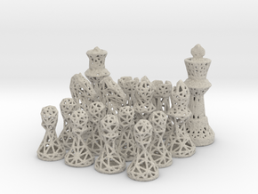 Chess Set Voronoi - Mini in Sandstone