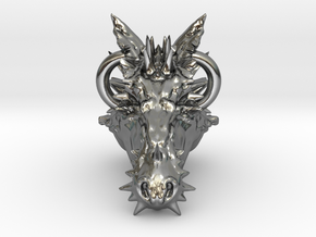 Dragon pendant top by OY in Polished Silver
