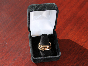 Three Phase Puzzle Ring in Polished Brass (Interlocking Parts): 6 / 51.5