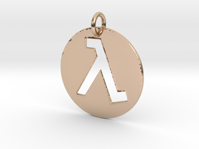 Half Life Pendant/Keychain in 14k Rose Gold Plated Brass