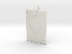 Ace of Hearts Keychain/Pendant in White Natural Versatile Plastic