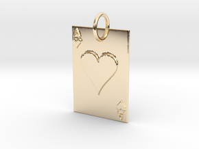 Ace of Hearts Keychain/Pendant in 14k Gold Plated Brass