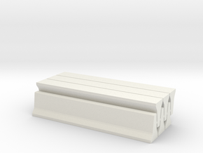 6 Jersey Barriers, Standard (32 inch x 15 feet) in White Natural Versatile Plastic: 1:64 - S