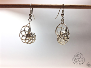 Conchoid Earrings in Polished Silver