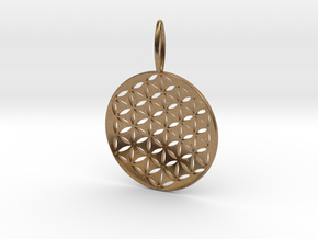 Flower Of Life Pendant Cosmic Jewelry in Natural Brass