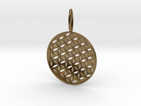 Flower Of Life Pendant Cosmic Jewelry in Polished Bronze