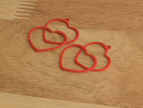 2 Hearts earrings in Red Processed Versatile Plastic