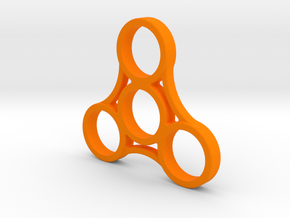Triple Sided Fidget Spinner in Orange Processed Versatile Plastic