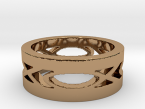 Men's Fish Ring in Polished Brass