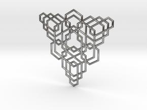 Hex Fractal Pendant in Polished Silver