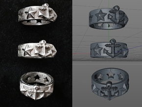 Ring Sterne und Anker / Ring Stars and Anchor in Polished Bronzed Silver Steel