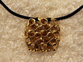 Gyroid Pendant in Polished Brass