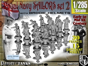 1-285 Generic Royal Navy Sailors Set 2 in Smoothest Fine Detail Plastic