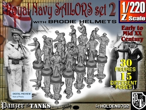 1-220 Generic Royal Navy Sailors Set 2 in Smoothest Fine Detail Plastic