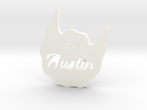 Austin Beard Pendent in White Processed Versatile Plastic: Small