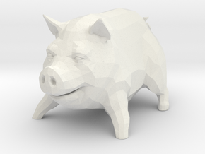Piggy Desktop Toy in White Natural Versatile Plastic
