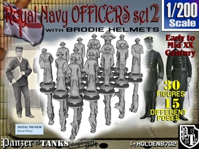 1-200 Generic Royal Navy Officers Set 2 in Smoothest Fine Detail Plastic