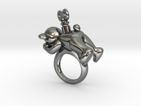 Teddy Bear Ring with Turnkey in Polished Silver: 6 / 51.5