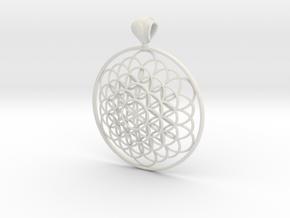 Flower Of Life Pendant 6cm Fancy Big Loopet in White Natural Versatile Plastic